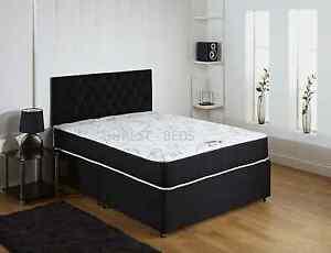 Image Is Loading Black Memory Foam Bed Divan Mattress Headboard 6ft