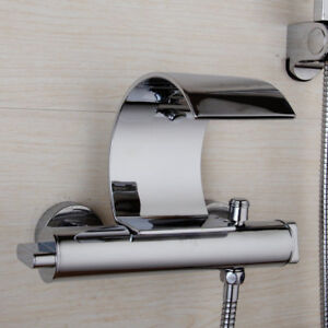 details about re contemporary chrome wall mount waterfall tub faucet with hand shower sets