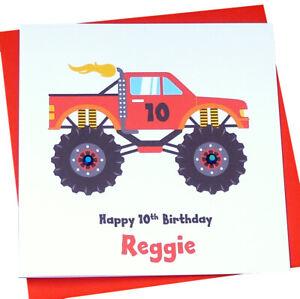 Handarbeit Personalisierte Monster Truck Geburtstagskarte Ebay