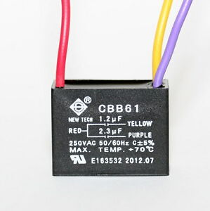 CEILING FAN CAPACITOR CBB61 12uf23uf 3 wire UL listed