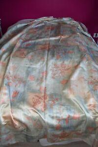 details sur 1 paire de double rideaux fleuri baie vitree