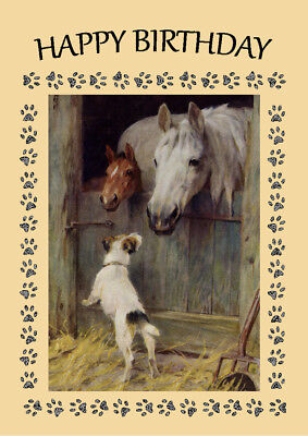 Jack Russell Terrier Dog And Horses Birthday Greetings Note Card Ebay