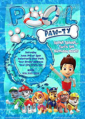 paw patrol invitation chase pool party ryder birthday party invite ebay