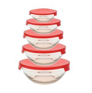 details about stackable glass bowl bowls food storage kitchen set with lids dishwasher x 5