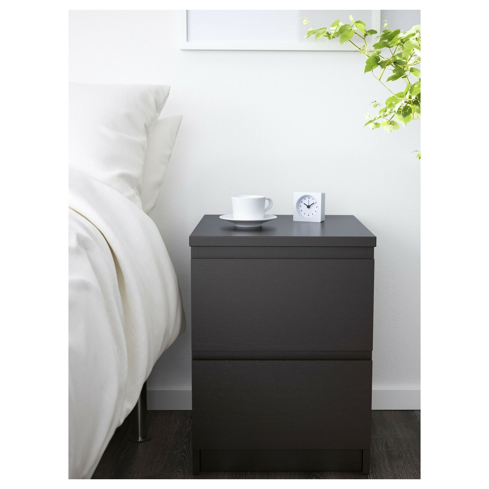 Ikea Malm 2 Drawer Chest Nightstand Black Brown