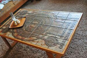 details about midcentury modern trioh ox art coffee table 1975 tile top teak base danish