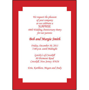 Details About 25 Personalized 40th Wedding Anniversary Party Invitations Ap 004