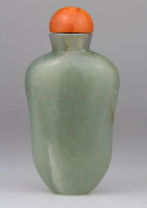 Antique Chinese Carved Celadon Jade Snuff Bottle Coral Stopper 19th C. Qing