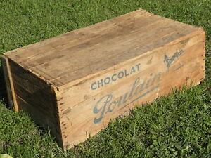 details sur ancien caisse bois chocolat poulin deco indus bar bistro loft industriel
