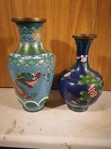 2xChinese Cloisonne vases