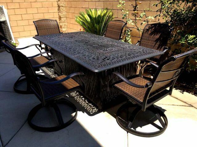 propane fire pit table set 7 piece cast aluminum patio furniture dark bronze