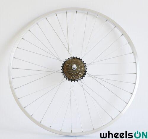 6 vitesses shimano roue libre noir argent 36 h 700 c wheelson roue arriere sports vacances cyclisme velos