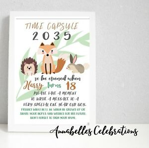 Woodland First Birthday Keepsake Time Capsule Cards For Guests Forest 1st Ebay