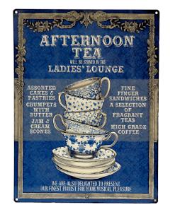 details sur grande plaque metal 30x40 afternoon tea the cafe tasse cuisine vintage deco loft