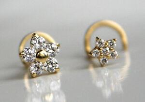 750 ECHT GOLD ☺ Spirale Nasenpiercing Piercing Nasenstecker Blume wählbar