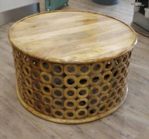 details about carved wood round coffee table
