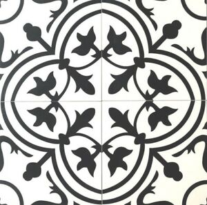 details about 8x8 flora black white porcelain floor wall tile by squarefeet depot box of 10