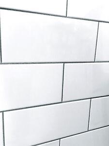 details about white 4x10 straight edge shiny ceramic subway tile backsplash wall kitchen bath