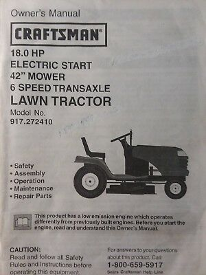 sears craftsman 180 hp 42 lawn tractor  mower owner  parts manual  917272410  ebay