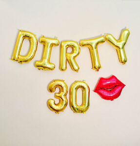 16  Letter Balloons Number Baloons Dirty 30 Big 30th Birthday Party     Image is loading 16 034 Letter Balloons Number Baloons Dirty 30