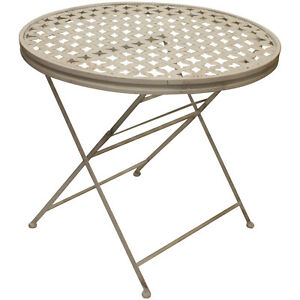 details about woodside round folding metal garden patio dining table outdoor furniture
