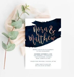 Details About Printable Engagement Party Invitation Classy Navy Rose Gold Digital File Invite