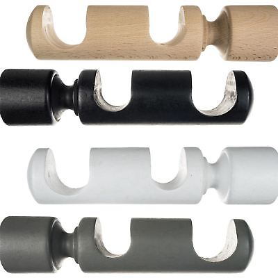modern double wooden bracket holder for wooden curtain pole rail 28mm 35mm ebay
