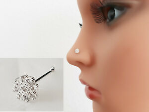 925 Silber Echt Nasenpiercing Nasenstecker Nasenring Stecker Piercing Blume Neu