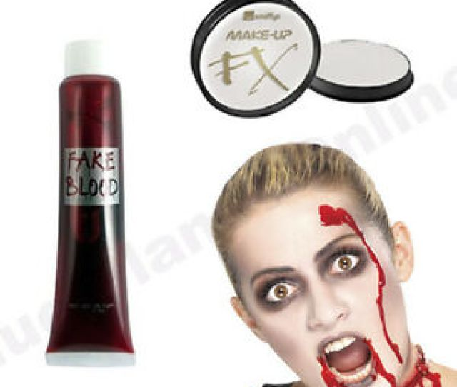 Image Is Loading Halloween White Face Paint Amp Blood Horror Gory