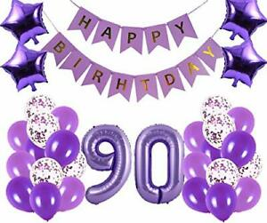 90th Birthday Party Decorations Kit Happy Birthday Banner With Number 90 Birt Ebay