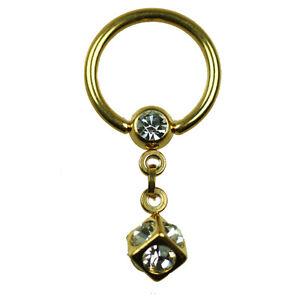 GOLD Ring mit 5mm o 6mm Würfel Kristalle Intim PIERCING Ohr Brust Klitoris Ring