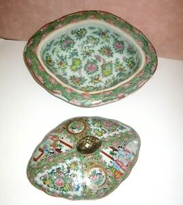 Antique Chinese Porcelain Covered Dish, Rose Medallion, Oval Hand Painted Dish