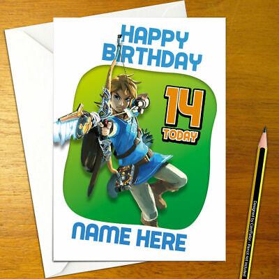 Atem Des Wild Personalisierte Geburtstagskarte Nintendo Legend Zelda Link Ebay