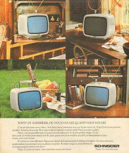 details sur publicite 1975 popsy de schneider televiseur noir blanc portable