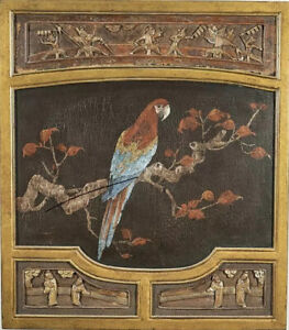 Large Chinese Wood Carved And Painted Parrot Panel