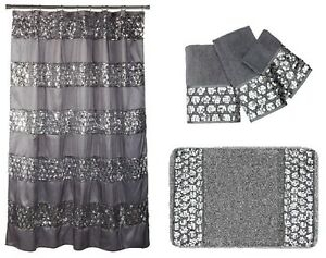 details about popular bath sinatra silver shower curtain rug and 3 piece towel set