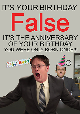 The Office Birthday Card Dwight False Him Her Son Daughter Ebay