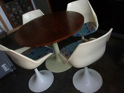 4 chaises tulipe et table 1970 ronde teck extensible i reglable table basse ebay