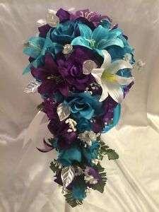 Bridal Bouquet Package Turquoise Purple Wedding Flowers bridesmaids     A imagem est     carregando Bridal Bouquet Package Turquoise Purple Wedding  Flowers bridesmaids