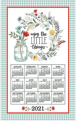 2021 CALENDAR TOWEL with Dowels & Cord - ENJOY THE LITTLE ...
