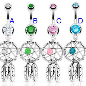 Traumfänger Bauchnabel Piercing Schmuck 8-12 Dreamcatcher Bananen Stecker Belly