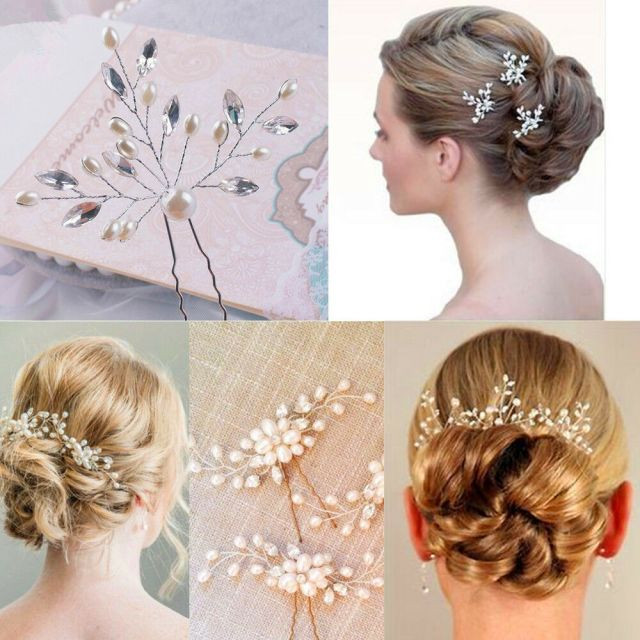 details about vintage wedding bridal pearl flower crystal hair pin bridesmaid clip side comb !