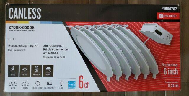 utilitech canless led recessed lighting kit 6ct 1500767