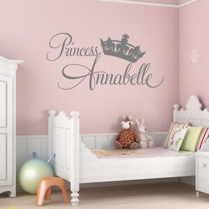 details sur personnalise bebe fille princesse autocollant mural chambre nursery art afficher le titre d origine