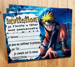 details sur cartes invitation anniversaire naruto par 6 ou 12