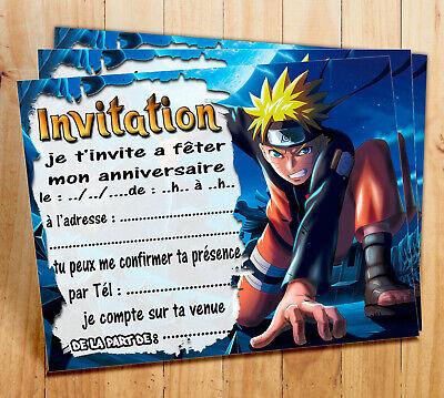 cartes invitation anniversaire naruto par 6 ou 12 ebay