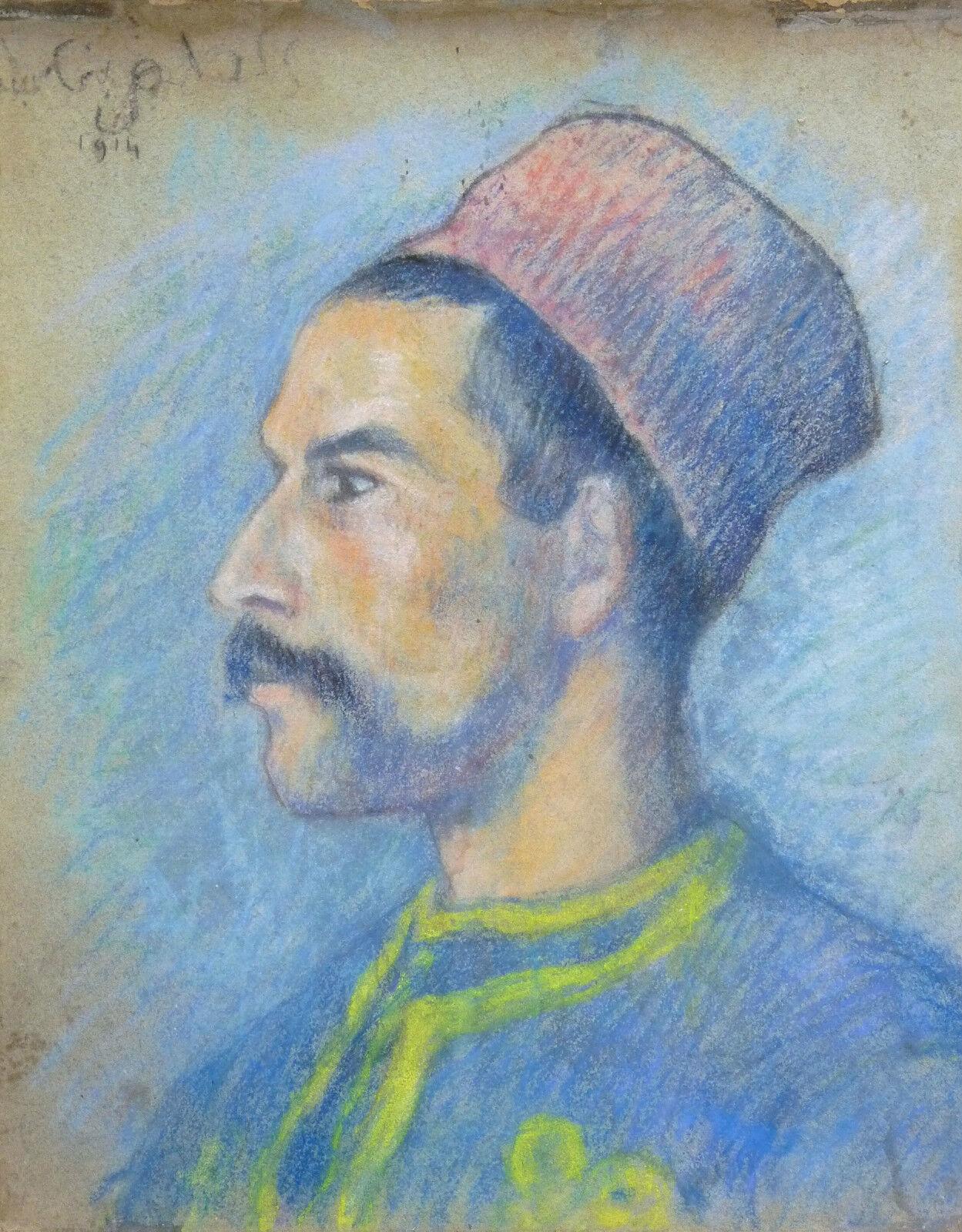 Orientalism Algerian Skirmisher 1914 Soldier Armée Africa Framed Impressionist