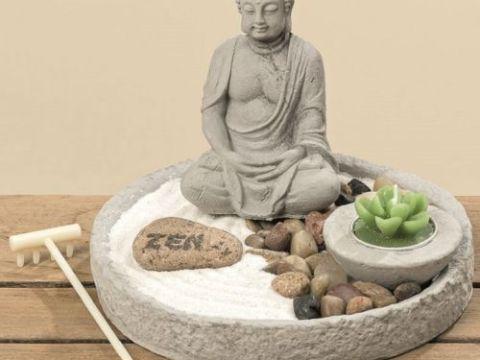 zen garten deko buddha mit schale tisch dekoration teelicht stein zen garten feng shui
