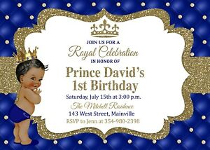 details about prince first birthday invitation king royal one year boy baby blue gold