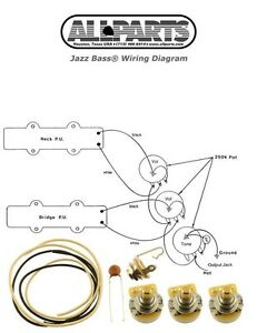 NEW Jazz Bass Pots Wire & Wiring Kit for Fender Jazz Bass Guitar Diagram | eBay